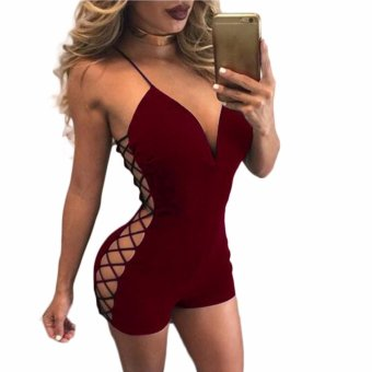 Fancyqube Women Solid Deep V-Neck Hollow Out Party Club Evening Bodycon Jumpsuit Bodysuit Shorts Burgandy - intl