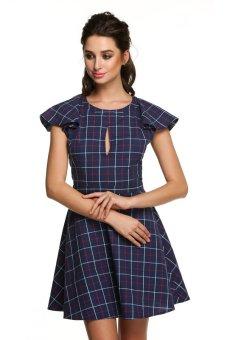 Cyber Finejo Ladies Women O-neck Short Sleeve Print Gingham Above Knee Mini Dress ( Blue ) - Intl