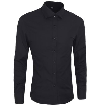 Autumn Fashion Men Clothes Slim Fit Men Long Sleeve Shirt Men Cotton Casual Men Shirt Social (black) - intl