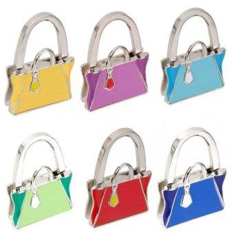 BolehDeals New Purse Shape Women Folding Handbag Hanger Hook Holder on Table - Green - intl
