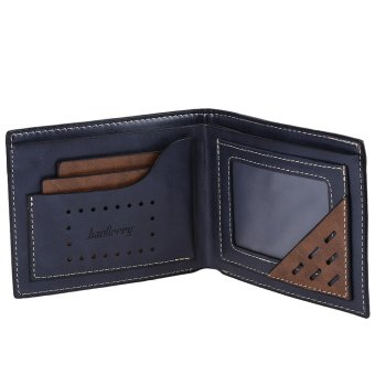 Baellerry Men Transverse Leather Bifold Purse/Wallet (Blue)