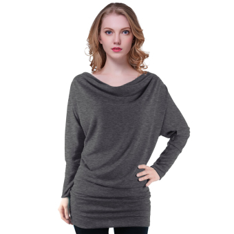 Fancyqube Women Slim T-shirt Bat Sleeve Dark Grey (Intl)