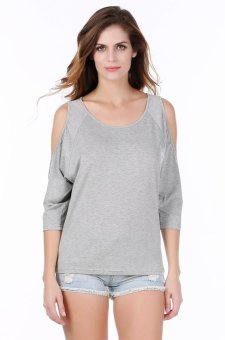 Sunweb Meaneor Stylish Lady Women's New Fashion Sexy 3/4 Sleeve O-neck Off-shoulder Tops Blouse ( Gray ) - intl