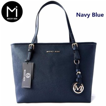 New 2017 Fashion Women Messenger bags Lady Tote Bag High Quality Shoulder Bags PU Pure Color Bag (Navy Blue) - intl