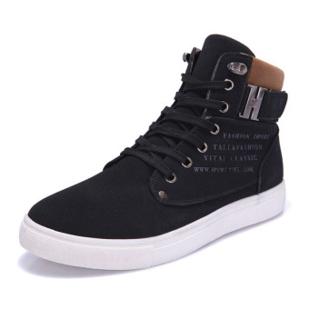 Men Matte-leather High Top Fashion Sneakers Breathable Causal Flat Sports Shoes Black - Intl - Intl