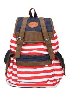 HKS Stylish Strip Canvas Casual Bag Backpack Satchel for Women Men Red - intl