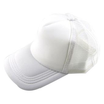Casual Hat Solid Baseball Cap Trucker Mesh Blank Visor Hat White