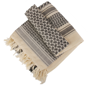 Tactical Military Desert Keffiyeh Pattern Pure Cotton Square Scarf Beige - Intl