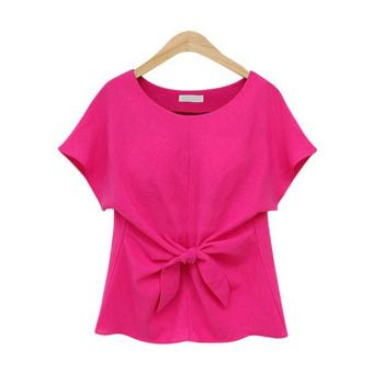 Áo sơ mi nữ trơn tay ngắn cổ tròn cột nơ nữ tính đơn giản thời trang công sở dạo phố Urban Horizon FM0042 (Hồng)
