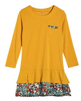 Women Fashion Floral Hem Loose Casual Round Neck Long Sleeve Cotton Dress Yellow (Intl)