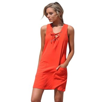 Lady Casual Spaghetti Strap Sleeveless Slim Beach Dress Orange - intl