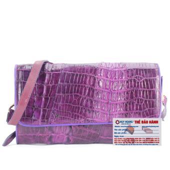 HL6251 - Túi xách nữ da cá sấu đeo chéo 2 gai màu tím