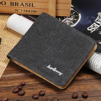 Fashion Men Wallet Soft Canvas Short Wallets Casual Style Credit Card Holders Short Men Purses - intl