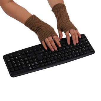 Knitted Fringe Warm Gloves Khaki