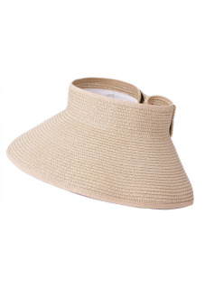 Women Ladies Girls Outdoor Traveling Folding Summer Large Brimmed Beach Sun Straw Hat Visor Hat Cap Beige (Intl) - intl