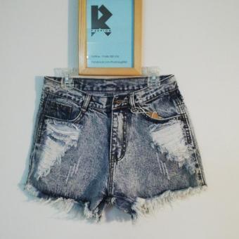 Quần short jeans nữ rách lưng cao R&D wash (màu đá)