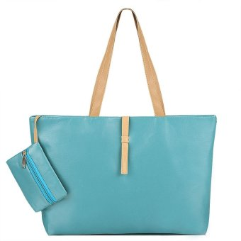Linemart Fashionable Women's Synthetic Leather Solid Shoulder Tote Bag Handbag ( Light Blue ) - intl