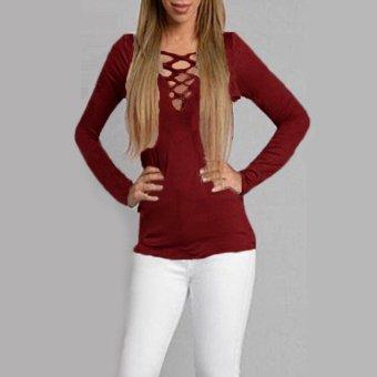 6 Colors Plus Size S-2XL Lady Low V Neck Long Sleeve Lace-up Tops Blouse T-Shirt - intl