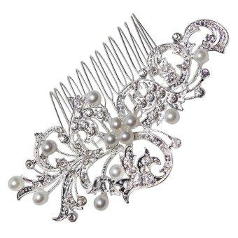 niceEshop Bridal Wedding Jewelry Crystal Rhinestone Bride Pearl Hair Comb Pin (Silver,Leafs) - intl