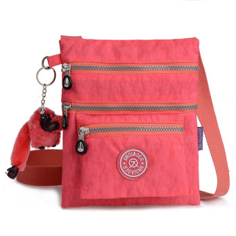 Waterproof Nylon Handbag Shoulder Diagonal Bag Messenger Watermelon Red - Intl