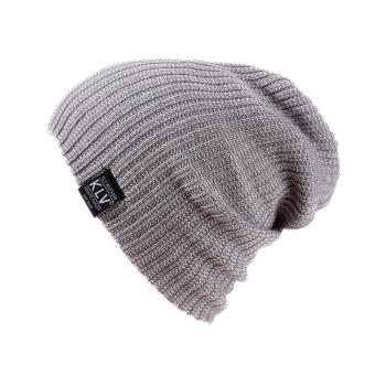Slouchy Beanie Knit Winter Skull Snowboard Cap Unisex Hat (Light Gray) - intl