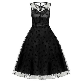 Cyber ACEVOG Retro Women Vintage Style Sleeveless Mesh Embroidery Long Party Cocktail Dress (Black) - Intl