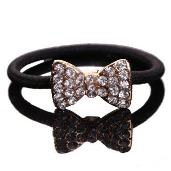 Hair Accessory Korean Jewelry Rhinestone Bow Dog Crown Hair Rope Hairband - intl