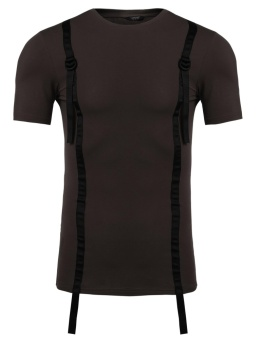Cyber Mens Casual O-Neck Short Sleeve Band Patchwork T-Shirt ( Coffee ) - intl