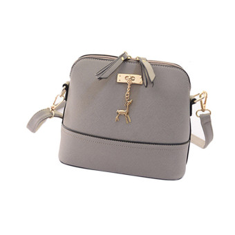New Women Messenger Bags Vintage Small Shell Leather Handbag Casual Bag Gray