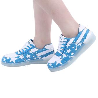 Stylish Luminous USB Charged LED Lace Up Male Sneakers(Lake Blue) - intl