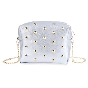 Rivet Embellishment Detachable Chain Geometric Mini Shoulder Messenger Bag - intl