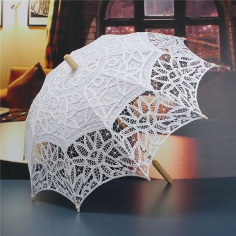 Lace Pure Cotton Flower Embroidery Wedding Umbrella Bridal Parasol White (Intl) - intl