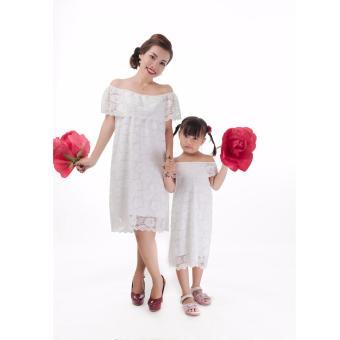 Set đầm ren mẹ & bé cao cấp JasminRose trắng