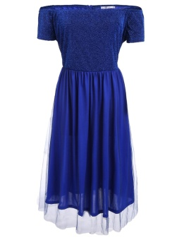 Cyber Women Off Shoulder Short Sleeve Shimmer Tulle Overlay Party Maxi Dress Plus Size ( Dark Blue ) - intl
