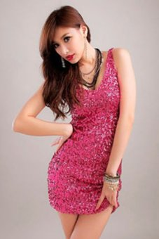 Bluelans Sexy Sequins V-Neck Bodycon Cocktail Clubwear Party Evening Dress Rose-Red (Intl)