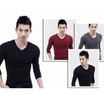 Bộ 3 áo thun nam tay dài cổ tim body ( đen, đỏ đô, xám )