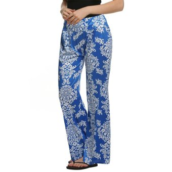 Cyber ACEVOG Women Casual Wide Leg Elastic Waist Print Stretch Long Trouser Pants ( Blue ) - Intl