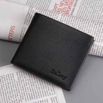 Men's Fashion Short Wallet Purse Casual Men Mini Wallets Leather+PU Wallet Card Holder, Black - intl
