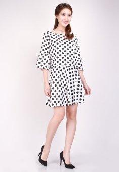 Set Váy Và Áo Chấm Bi Thời trang Hoàng Khanh-HK 22 (Trắng)