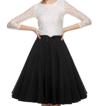 Cyber ACEVOG Elegant Women 1950s Retro Vintage Style Casual Party Swing Pleated Skirt Double-breasted (Black) - Intl