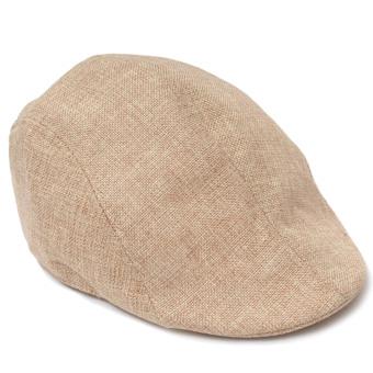 Unisex Men Women Linen-textured Pure Color Flat Peak Beret Cap Hat Beige (Intl)