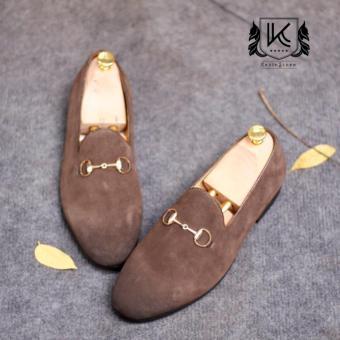Giày lười da lộn cao cấp Kazin màu ghi xám - KZGX050