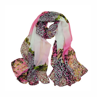 Fashion Women Chiffon Scarf Leopard Print Long Shawl Wrap Pashmina Rose (Intl)