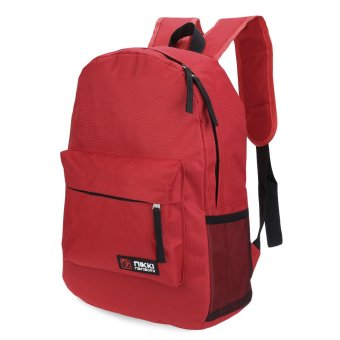 Solid Color Zipper Oxford Portable Backpack Vertical(Red) - intl