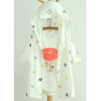 Áo khoác nữ mỏng trắng thêu hình nấm LTTA120