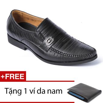 Giày da công sở lịch lãm sang trọng da sọc SMARTMEN GL-024 (Đen) + Tặng 1 ví da nam