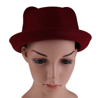 WomenCute Panda Ear WooRsetro Jazz Hat Purpih Red