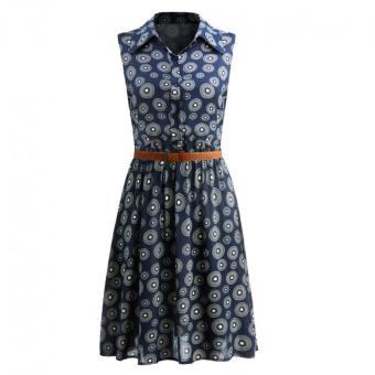 Moonar Fashion Casual Women Sweet Sleeveless Turn Down Collar Slim Wasit Midi Dress with Belt (Polka Dot) - intl