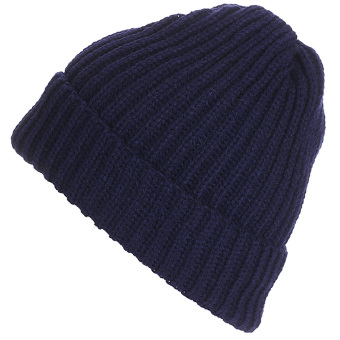 Unisex Solid Color Vertical Stripe Thick Beanie Knitted Warm Fall Winter Ski Cap Hat Navy Blue - intl