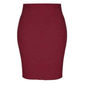Cyber High Waist Pencil Skirt Slim Bag Hip Midi Skirt (Wine Red) - Intl